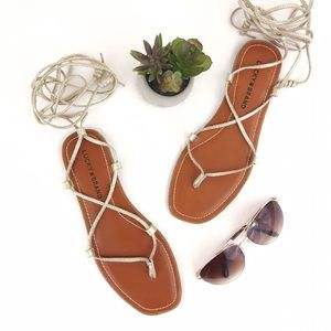 LUCKY BRAND Binnie Lace Up Gladiator Sandal Gold 8